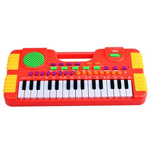Piano for Kids, WOLFBUSH 31 Key Synthesizer Multi-function Electronic Keyboard Play Piano Organ Children Educational Toy – Red