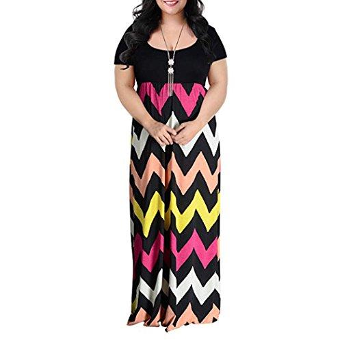 Verano Larga La Fiesta Mujer Vestido JYC Maxi Vestido De Camiseta Largo Vestir Encaje Más Elegante Multicolor Cheurón Largo Casual Tamaño Impresión Falda Boda E4xdqnq
