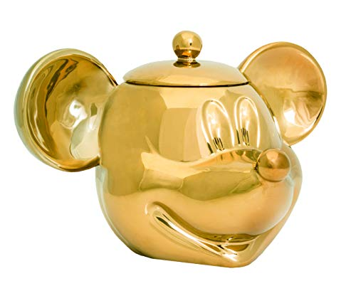 Joy Toy 62148 UL949 Mickey Mouse Deluxe 3D Ceramic Biscuit Jar 25X17X20 cm, Gold