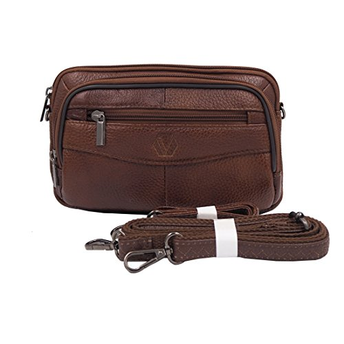 (Mens Handbag Cowhide Leather Crossbody Shoulder Messenger Bag Organizer Checkbook Wallet Purse (S Tan) )