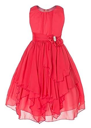 DressForLess Yoryu Chiffon Asymmetric Ruffled Flower Girl Dress , Coral, 4, (KK2040CO-4)