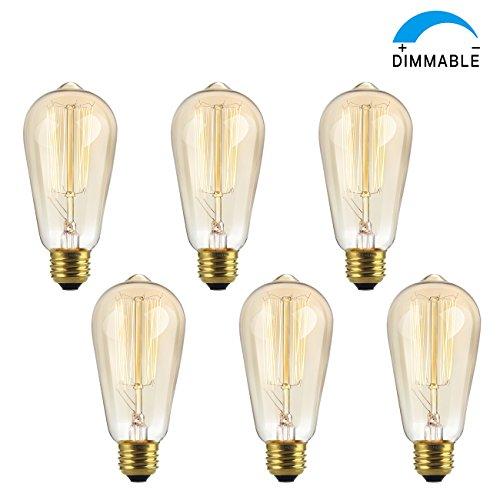 SHINE HAI Vintage Edison Bulb 60W, Antique Style ST64 Squirrel Cage Filament, 300 Lumens, Dimmable Classic Design, E26 Medium Base 2300K, Pack of 6