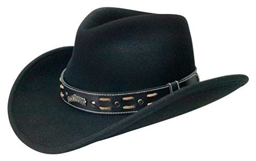 Jack Daniels Costume Men (Jack Daniels Two Step Soft Wool Cowboy Hat, Crushable - Black JD03-106 (L))