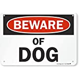 """SmartSign Aluminum Sign, Legend""""Beware of Dog"""", 7"""" High X 10"""" Wide, Black/Red on White"""