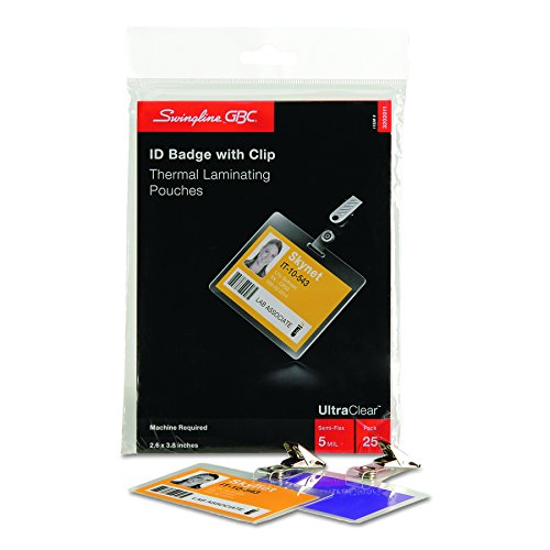 Swingline GBC UltraClear Thermal Laminating Pouches, Badge/ID Card Size With Clip, 5 Mil, 25 Pack (3202011)