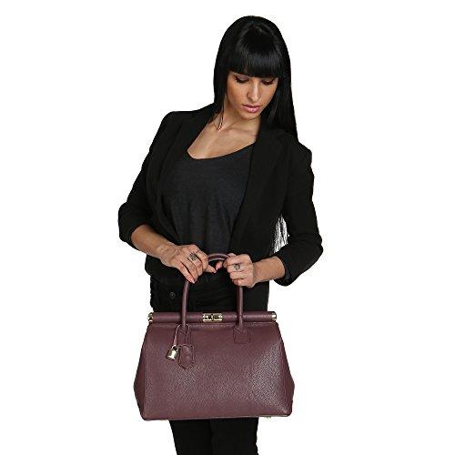 Borse Chicca Prune cuir épaule en en main véritable Femme Fabriqué 35x28x16 à Sac Cm Italie avec r4wrgxd