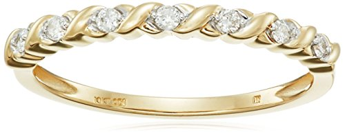 10k Yellow Gold Diamond 1/10 cttw Stacking Band, Size 6 by Amazon Collection