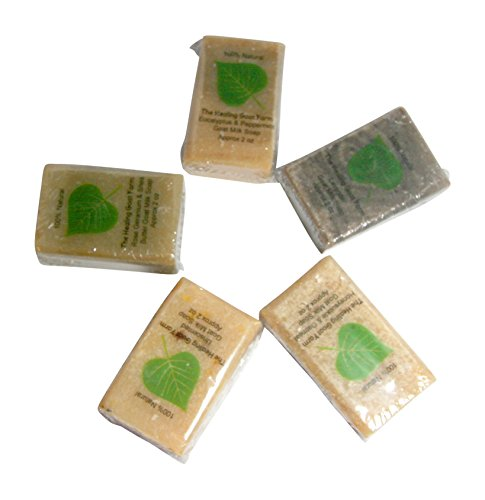 Homemade Goat - Goat Milk Soap Handmade Gift Set for Sensitive Dry Skin Variety of Scents: Oatmeal, Lavender, Shea Butter Rose Geranium, Unscented (Best Sellers, 5 Half Bars) Made in USA