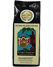 Aloha Island Coffee Kona Smooth Diamond Kings Reserve Hawaiian Blend Coffee, 8 Oz Ground