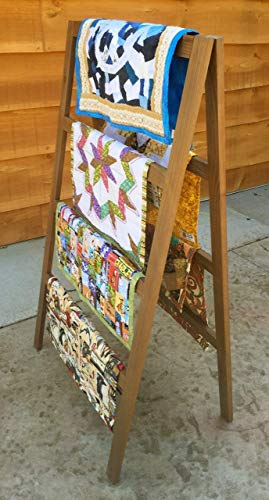 OFTO Handmade Quilt Rack - 4-Tier Quilt Ladder Holds 7 Blankets or Afghans for Vender Displays - Great for Pillows, Shams and a Comforter Folds Flat for Storage, Non-Toxic Finish. (Quilt Rack Blanket Stand)