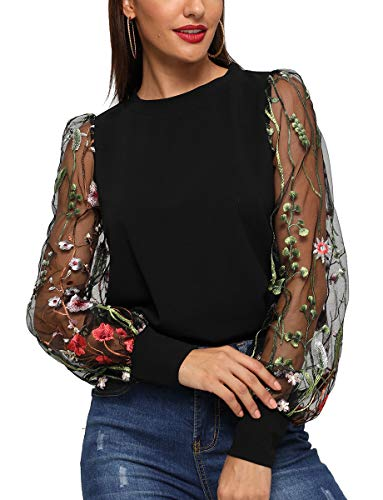 Romwe Women's Embroidered Floral Mesh Bishop Sleeve Loose Casual Blouse Top Black S ()