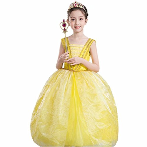Belle Costume for Girls Yellow Princess Dress Party Christmas Halloween