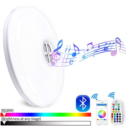 Huamai Smart Ceiling Light 24W RGB Changing Color Dimmable with Bluetooth Speaker and Remote Controller for Living Room, Bedroom, Dining Room, and Bathroom