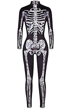F Style Halloween Cosplay Clothes Skeleton Printed Women Jumpsuits Rompers Skinny Bodysuit,Black White Bone,Small