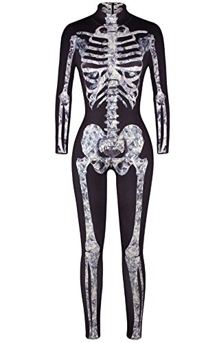 F Style Halloween Cosplay Clothes Skeleton Printed Women Jumpsuits Rompers Skinny Bodysuit,Black White (Womans Skeleton Costumes)