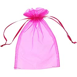 SumDirect 100Pcs 5x7 inches Sheer Drawstring Organza Jewelry Pouches Wedding Party Christmas Favor Gift Bags (Hot Pink)