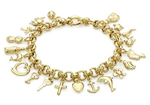 """Chaîne Belcher or jaune 9carats 20-charms Bracelet 19cm/7,5"""""""