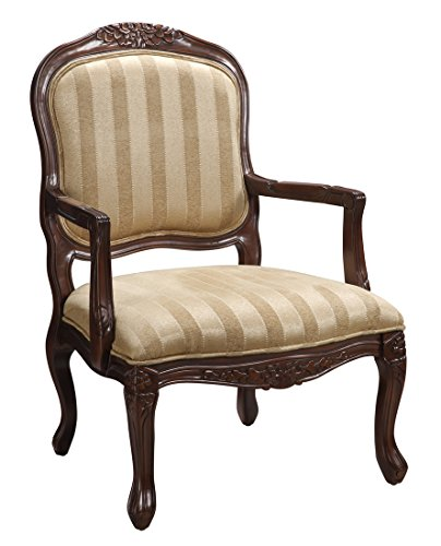 Coast To Coast Traditional Striped Linen Living Room Accent Arm Chair in Brown