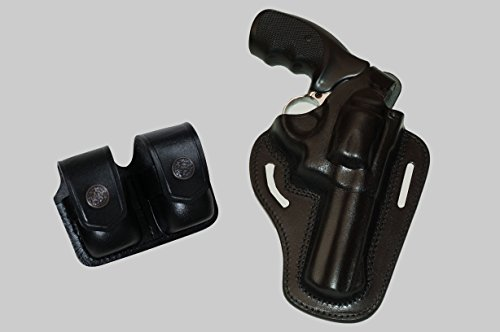 (ALIS30538 2 Slot Pancake Leather Holster Thumb Break RH & Double Speedloader Case Fits 357 Magnum with 4