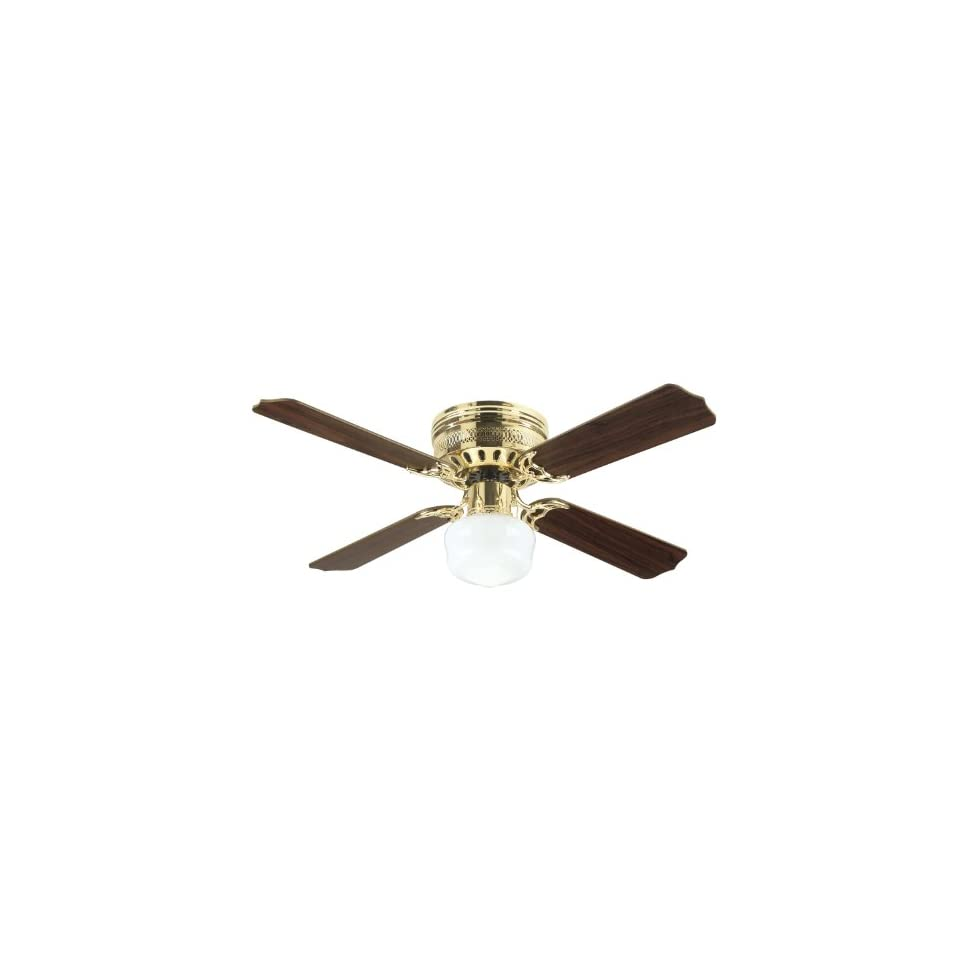 Westinghouse 7812520 Casanova Supreme Single Light 42 Inch Four Blade Indoor Ceiling Fan, Polished Brass with Opal Schoolhouse Glass