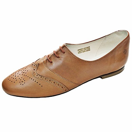 Chebran Oxford | Narrow Width | Made in Portugal | Brown Leather Flats | Size 7.5