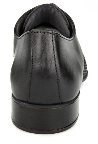 Black Perforated Texture Flat Oxford Genuine Men's Shoes cheap wide range of dzqQnGpjy0