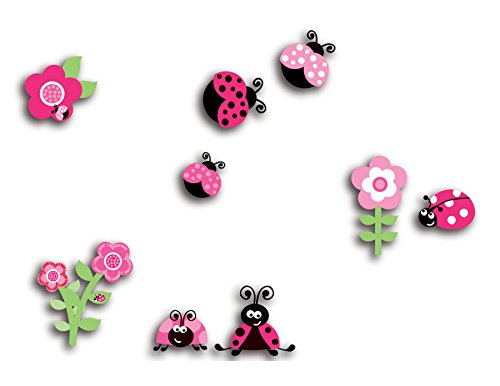 Home Decor Line CR-14506 Pink Ladybugs 3D Wall Decals, -