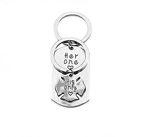 Meiligo Fashion Valentine's Day her one his only Letter Necklace Key Chain Couples Love Lettering Dog Tag Puzzle Charm Necklace Jewelry (Key (His Hers Dog Tags)