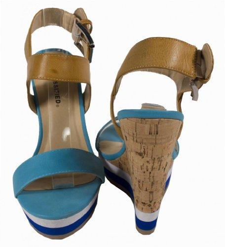 Chiyo! Stad Klassificerade Womens Två Ton Kork Inslagna Plattform Kil Sandal Turkos Läder