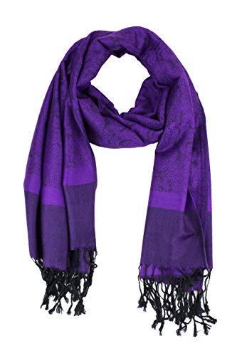 Paskmlna Paisley Jacquard Pashmina Shawl Wrap Scarf Stole - Hand Painted Wrap Silk
