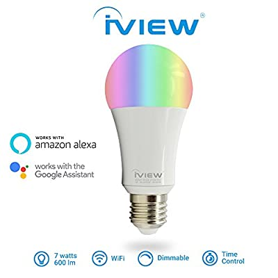 IVIEW-ISB600 WiFi Smart Light Bulb Twin Pack, Multi-color, Dimmable, No Hub Required, Free APP Remote Control, Compatible with Amazon Alexa & Google assistant