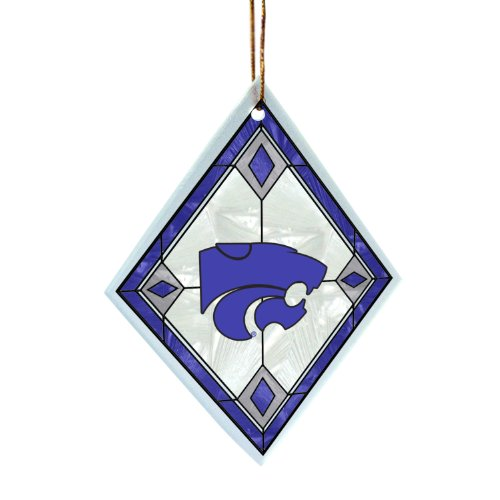 NCAA Kansas State Wildcats Art Glass Ornament - Kansas State Wildcats Santa