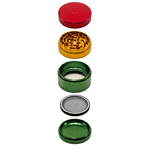 4 Piece Aluminum Herb Grinder with Interchangeable Mesh Screen By Interplanetary Development (2.5 Inch Super Weapon II, Rasta) (Sabertooth Glass)