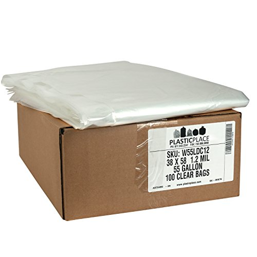 Plasticplace Clear 55 Gallon Trash Bags, 38x58, 100/Case, 1.2 Mil from Plasticplace