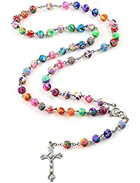 Polymer Clay Bead Rosary Long Necklace Alloy Cross Virgin Christian Catholic Jewelry for women