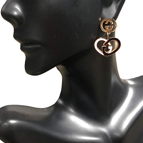 Style Rose Earrings - Women's Fashion Earrings Korean Style Three Icon Drop Earrings Stainless Steel Rose Gold (Heart GG)