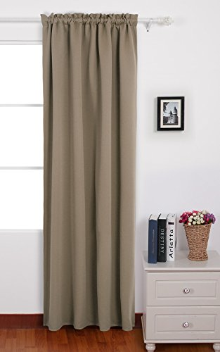 Wonderful Deconovo Taupe Blackout Curtains Thermal Insulated Rod Pocket Curtains For  Sliding Glass Door 42 W X 63 L Taupe 1 Panel