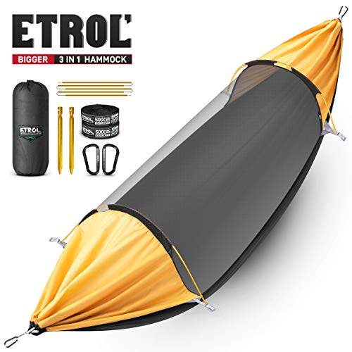 ETROL Hammock, Upgrade Double & Single Camping Hammock with Mosquito Net, Tree Straps, Carabiners, Aluminium Poles, 3 in…