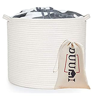 "DUUMI Rope Baskets 17""x17""x15"" Large Storage Baskets,Woven Nursery Bins,Cotton Baskets,White Basket,Blanket Storage Baskets,Off White"