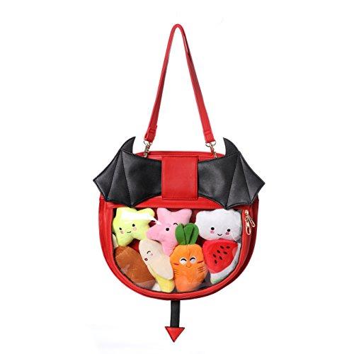 Fascinating Clear Candy Leather Handbag Kawaii Purse Transparent Backpacks For Girls Devil Bat Wings Crossbody Bags Lolita]()