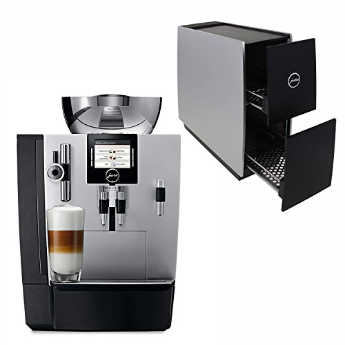 Jura 16367 IMPRESSA XJ9 Automatic Coffee Machine, Brilliant Silver with Jura 72229 Cup Warmer, Black