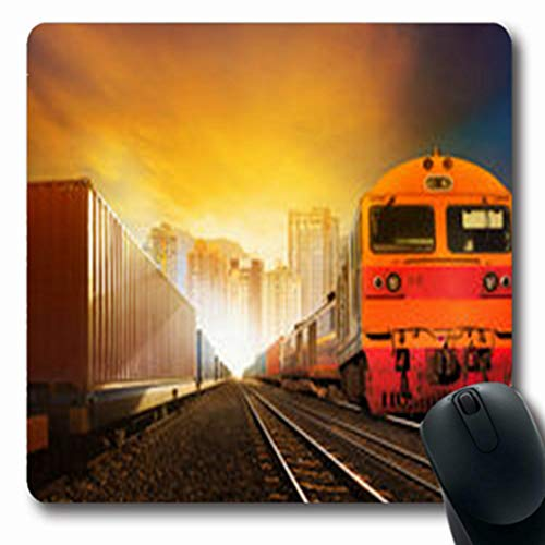 Pandarllin Mousepads Logistic Industries Container Trains Boxcar Load On Track Industrial Train Heavy Oblong Shape 7.9 x 9.5 Inches Oblong Gaming Mouse Pad Non-Slip Rubber ()