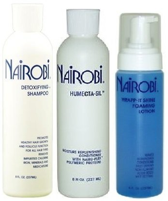 Amazon Com Nairobi 8 Oz Trio Bundle Humecta Sil Conditioner Wrapp It Foaming Lotion Detoxifying Shampoo By Nairobi Beauty