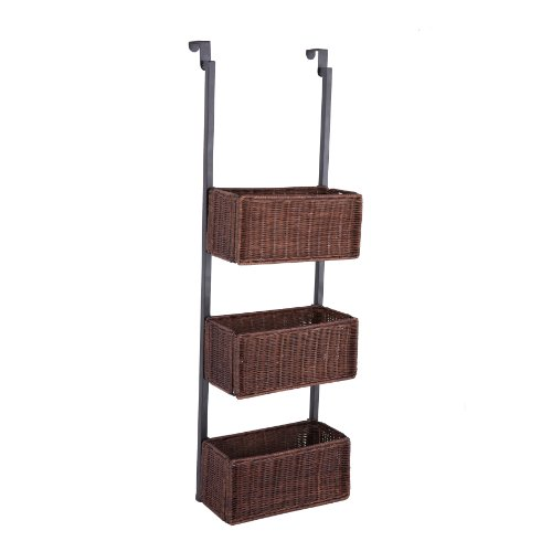 [Over-The-Door 3-Tier Basket Storage - Espresso w/ Black] (3 Door Storage)