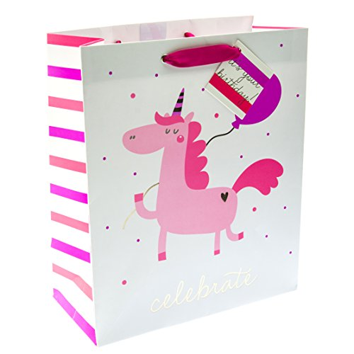 - Graphique Unicorn Balloon Medium Gift Bag - Cute Unicorn Holding Balloon Gift Bag Embellished with Gold Foil, Includes Grosgrain Red Ribbon Handles and Coordinating Gift Tag, 10