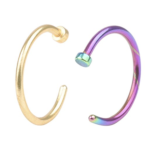 A+ Piercing Jewelry 2pcs 20G 8mm Hot Colorful Stainless Steel Nose Open Hoop Ring Earring Body Piercing Studs Jewelry Set (Princess Labret)
