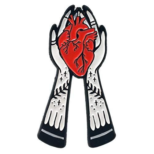 (Ectogasm 100138 Hands Holding Anatomical Heart Enamel Pin)