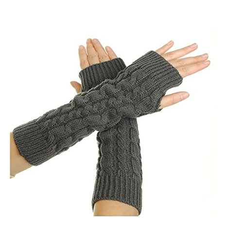 Epic Fingerless Gloves,FuzzyGreen Women Lady Girl Crochet Knitting Wool Braided Wrist Arm Warm Mitten Fingerless Long Gloves-Dark Grey