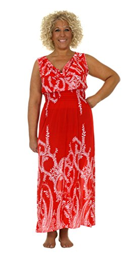 Women's Ankle Length Maxi Dress with Scoop Front Neckline (Medium, Red)