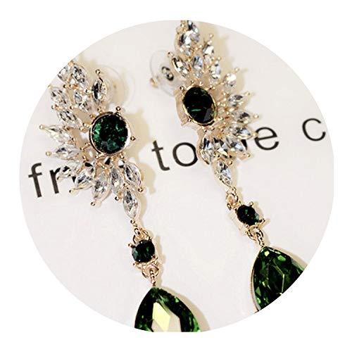 (Bohemian Wings Long Crystal Drop Earrings Luxury Ethnic Big Gem Statement Pendants Earrings For Women,Green)